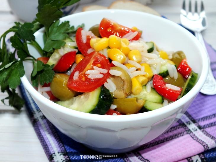 рецепты салатов из риса с овощами